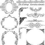 Set rocznik ornamentacyjne granicy (ustawiający 14) royalty ilustracja