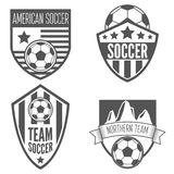 Set rocznik piłki nożnej futbolowe etykietki, emblemat i Fotografia Stock