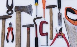 Set rocznik ręki budowy narzędzia na białym tle obraz stock