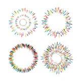 Set rocznik, ręki rysować sunburst wektoru ikony Zdjęcie Stock