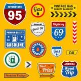 Set rocznik retro benzyna podpisuje i etykietki ilustracja wektor