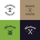 Set rocznik retro handmade odznaki, etykietki i logów elementy, retro symbole dla lokalnego szwalnego sklepu, dzianina klub, hand Zdjęcie Royalty Free