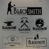 Set rocznika blacksmith etykietki i projektów elementy Obrazy Stock