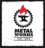 Set rocznika blacksmith etykietki, odznaki, emblematy i projektów elementy, Wektorowa Szorstka ilustracja ilustracja wektor