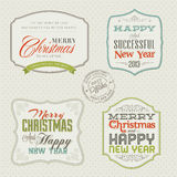 Set rocznika Bożych Narodzeń i Nowego Roku karty Obraz Royalty Free