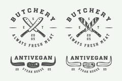 Set rocznika butchery mięsa, stku lub bbq logowie, emblematy Obrazy Royalty Free