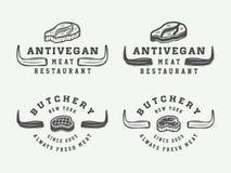Set rocznika butchery mięsa, stku lub bbq logowie, emblematy, odznaka Obrazy Stock