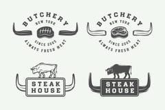 Set rocznika butchery mięsa, stku lub bbq logowie, emblematy, odznaka Fotografia Stock