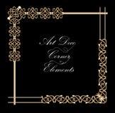 Set rocznika dokumentu typograficzny kąt w złocistym art deco projekcie, luksusowi dekoracyjni elementy dla druku, restauracja Obrazy Royalty Free