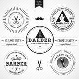 Set rocznika fryzjer męski sklep ilustracja wektor