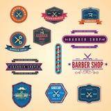 Set rocznika fryzjera męskiego sklepu ikony i grafika ilustracji