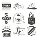 Set rocznika fryzjera męskiego sklepu logo, etykietki, odznaki royalty ilustracja