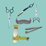 Set rocznika fryzjera męskiego sklepu elementy Fotografia Stock