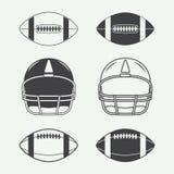 Set rocznika futbolu amerykańskiego i rugby etykietki, emblematy, logo Zdjęcia Royalty Free