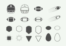 Set rocznika futbolu amerykańskiego i rugby etykietki, emblematy, logo Obraz Royalty Free