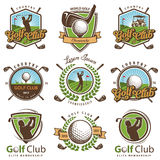 Set rocznika golfa emblematy ilustracja wektor