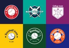 Set rocznika koloru baseballa mistrzostwa odznaki i logowie ilustracji