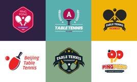 Set rocznika koloru stołowego tenisa odznaki i logowie Kolekcja śwista pong mistrzostwa etykietki ilustracja wektor