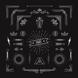 Set rocznika kształta geometrycznych elementów liniowa cienka kreskowa sztuka Dec Zdjęcia Royalty Free