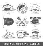 Set rocznika kucharstwa etykietki ilustracja wektor