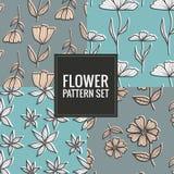 Set rocznika kwiatu wzór - wektorowa ilustracja Zdjęcia Royalty Free
