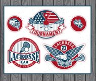 Set rocznika lacrosse odznaki i etykietki Obrazy Stock