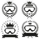 Set rocznika lodu jazda na snowboardzie lub narty Świetlicowa odznaka Obraz Royalty Free