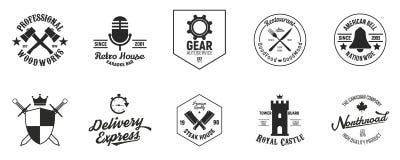 Set 10 rocznika logo szablonów Logo, tożsamość, etykietki, odznaki Grunge tekstura również zwrócić corel ilustracji wektora ilustracji