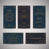 Set rocznika Luksusowego powitania menu projekta Restauracyjny szablon Obraz Royalty Free