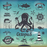 Set rocznika owoce morza ryba typografii projekt z etykietkami, ikony Fotografia Royalty Free