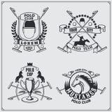 Set rocznika polo klubu końskie etykietki, emblematy, odznaki i projektów elementy, Obraz Stock