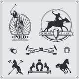 Set rocznika polo klubu końskie etykietki, emblematy, odznaki i projektów elementy, Fotografia Royalty Free