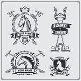 Set rocznika polo klubu końskie etykietki, emblematy, odznaki i projektów elementy, Fotografia Stock