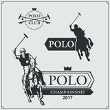 Set rocznika polo klubu końskie etykietki, emblematy, odznaki i projektów elementy, Obraz Royalty Free