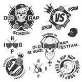 Set rocznika rap emblematy, etykietki i projektów elementy, Monochromu styl Obrazy Stock