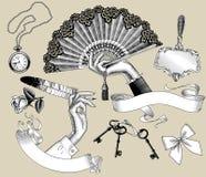 Set rocznika rytownictwo stylizował rysunki kobiety ` s ręki i ilustracji