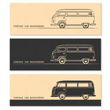 Set rocznika samochodu sylwetki Autobus, samochód dostawczy, furgon ilustracja wektor