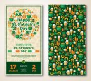 Set rocznika St Patrick dnia Szczęśliwy powitanie ilustracji