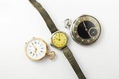 Set rocznika stylu zegarki na białym tle Fotografia Stock
