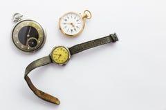 Set rocznika stylu zegarki na białym tle Fotografia Royalty Free