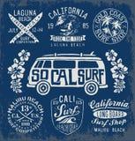 Set rocznika surfingu emblematy i grafika Zdjęcie Stock