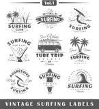 Set rocznika surfingu etykietki niestabilność 1 royalty ilustracja