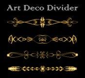 Set rocznika typograficzny divider w złocistym art deco projekcie, luksusowi dekoracyjni oddzielaczy elementy dla druku, restaura Zdjęcia Stock