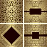 Set rocznika wzór i trzy luksusowego zaproszenia ilustracji