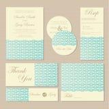 Set rocznika zaproszenia kwieciste ślubne karty royalty ilustracja