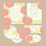 Set rocznika zaproszenia kwieciste ślubne karty Zdjęcie Stock