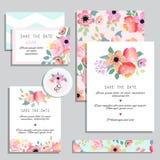 Set rocznika zaproszenia ślubne karty Obrazy Royalty Free