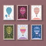 Set rocznika znaczek z balonem Fotografia Royalty Free