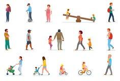 Set rodzinny czas wolny Je lunch w domu, pinkin w naturze, spacer w plenerowym, rolkowym łyżwiarstwie, ilustracja wektor