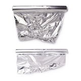 Set rolka aluminiowej folii papier nad odosobnionym białym tłem Obraz Royalty Free